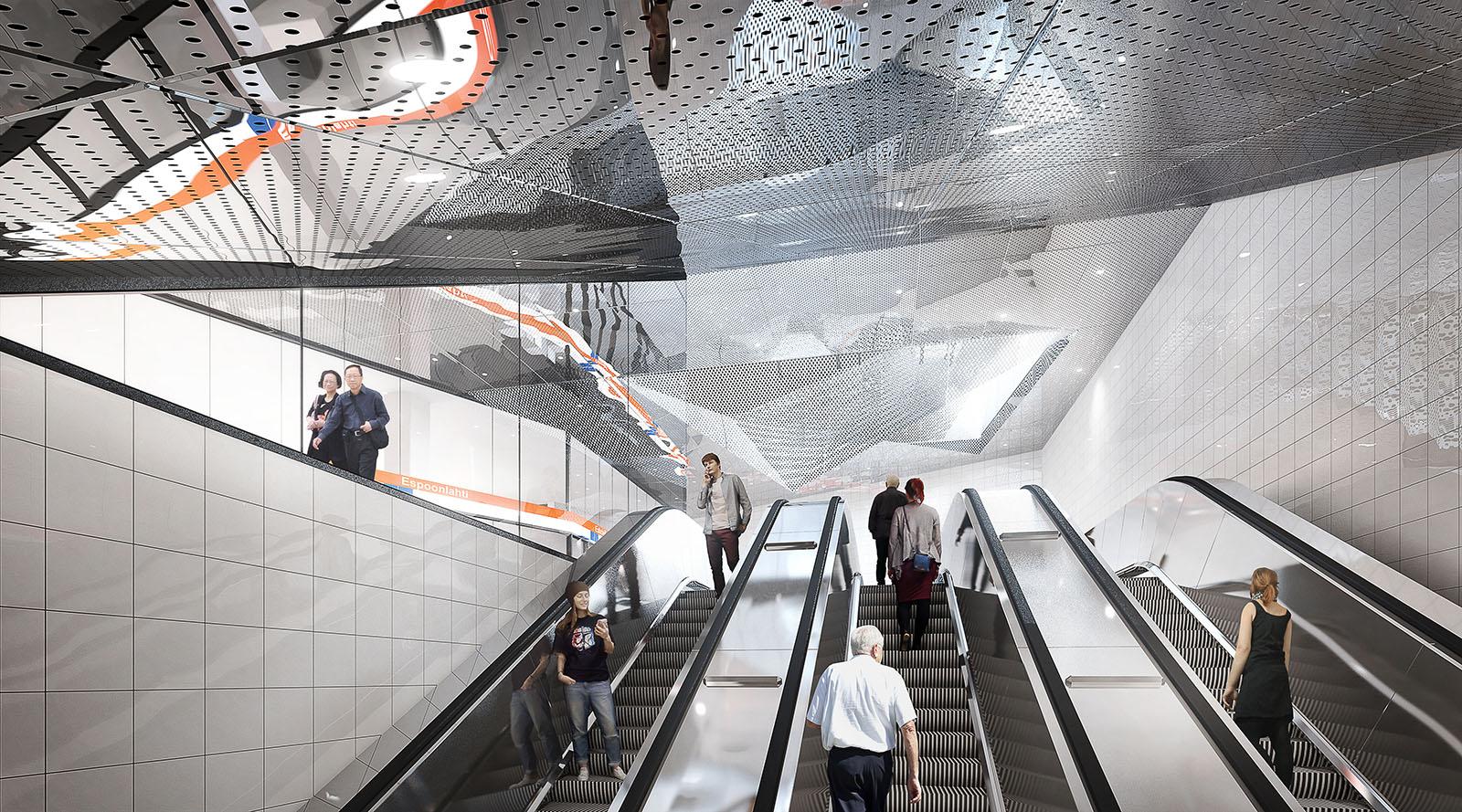 Havainnekuva Espoonlahden metroaseman Solmutorin sisäänkäynnin liukuportaista.