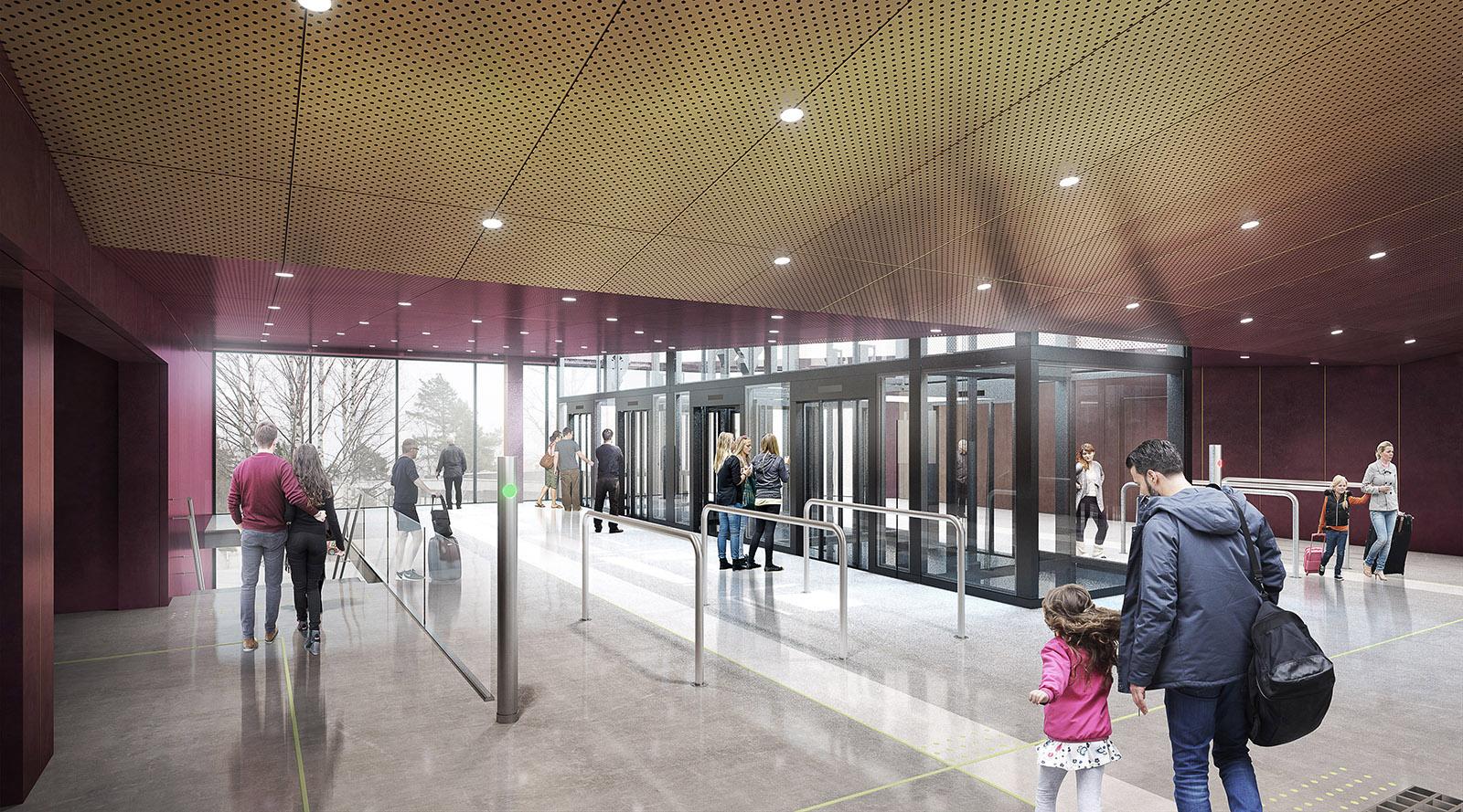 Havainnekuva Soukan metroaseman Soukantorin lippuaulasta, josta kulkeminen tapahtuu hisseillä.