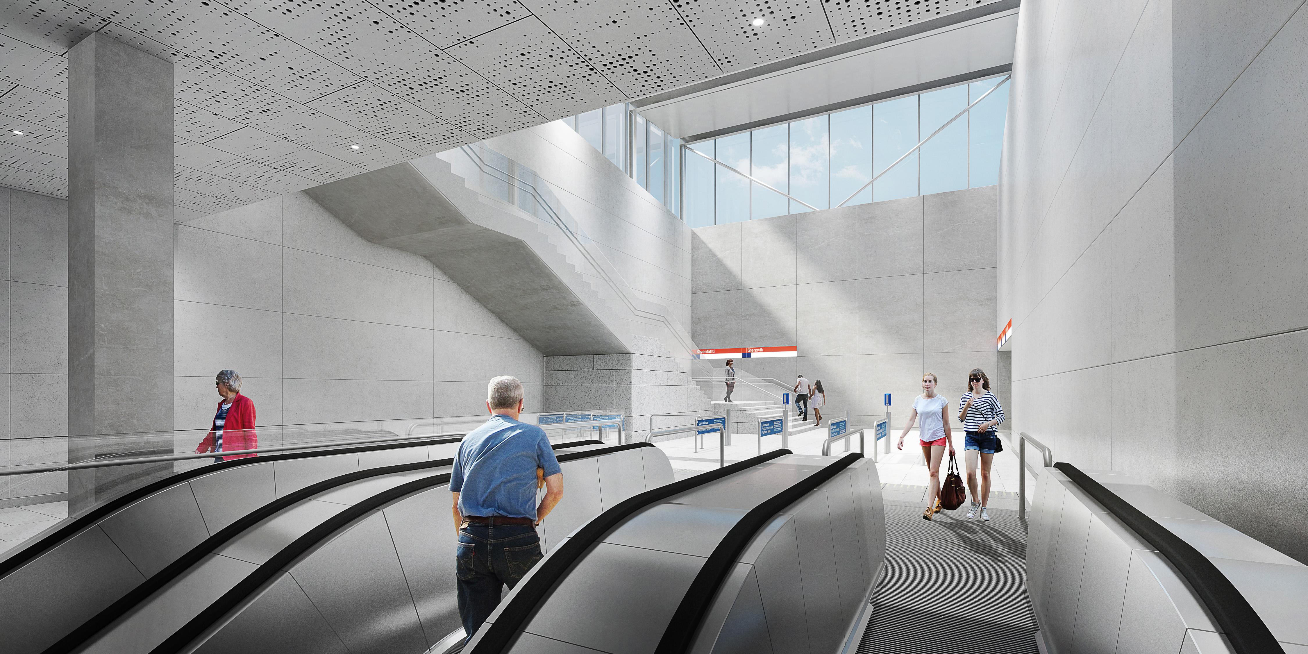 Havainnekuva Kivenlahden metroaseman liukuportaista.