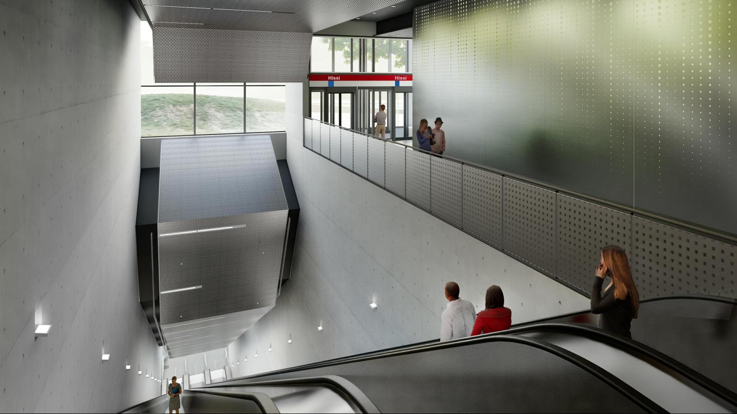 Havainnekuva Kaitaan metroaseman liukuportaista.