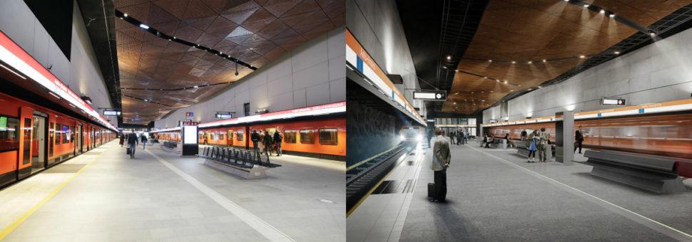 Vasemmalla on Aalto-yliopiston metroaseman laiturialue valmiina, oikealla on siitä havainnekuva. Aalto-yliopiston aseman suunnittelusta vastaa arkkitehtitoimistot ALA Oy + Esa Piironen Oy.