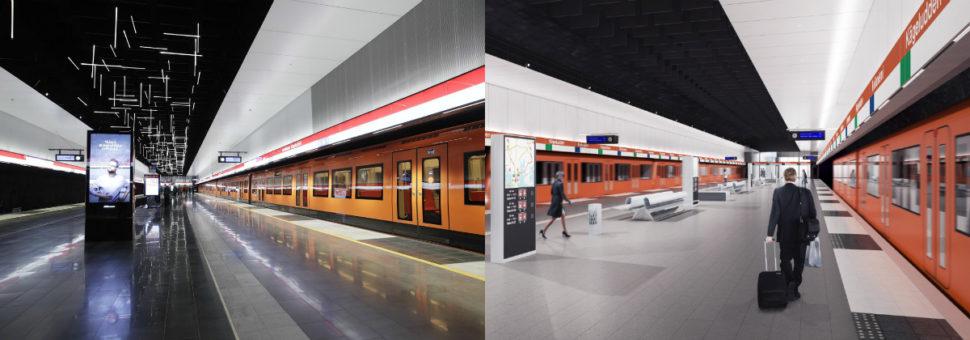 Vasemmalla on Keilaniemen metroaseman laiturialue valmiina, oikealla on siitä havainnekuva. Keilaniemen aseman suunnittelusta vastaa arkkitehtitoimisto ALA Oy + Esa Piironen Oy.