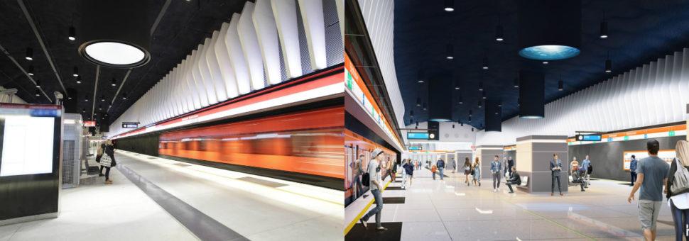 Vasemmalla on Koivusaaren metroaseman laiturialue valmiina, oikealla on siitä havainnekuva. Koivusaaren aseman suunnittelusta vastaa arkkitehtitoimisto Helin & Co Oy.