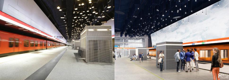 Vasemmalla on Lauttasaaren metroaseman laiturialue valmiina, oikealla on siitä havainnekuva. Lauttasaaren aseman suunnittelusta vastaa arkkitehtitoimisto Helin & Co Oy.
