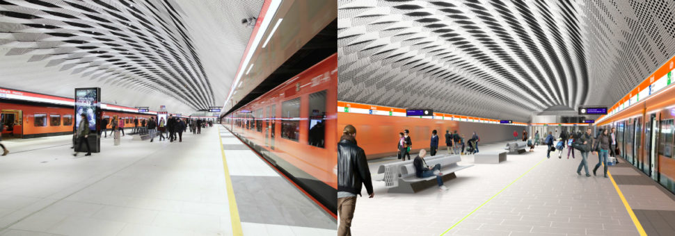 On the left is the completed Matinkylä station, on the right is the conceptual drawing. The Matinkylä metro station was designed by Arkkitehtitoimisto HKP Oy.