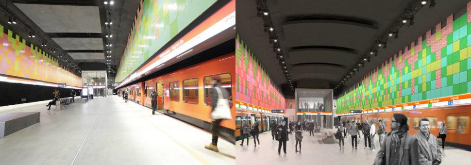 Vasemmalla on Niittykummun metroaseman laiturialue valmiina, oikealla on havainnekuva siitä. Niittykummun aseman suunnittelusta vastaa Arkkitehtitoimisto HKP Oy.