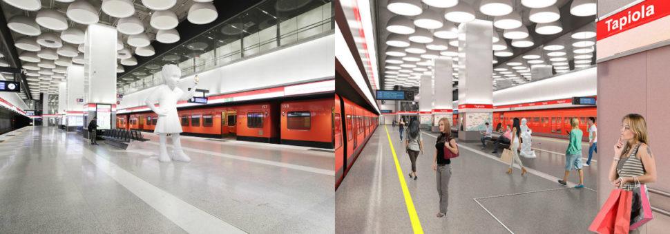 Vasemmalla on Tapiolan metroaseman laiturialue valmiina, oikealla on havainnekuva siitä. Tapiolan aseman suunnittelusta vastaa Arkkitehtityöhuone Artto Palo Rossi Tikka Oy.
