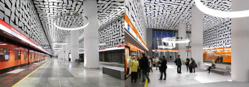 Vasemmalla on Urheilupuiston metroaseman laiturialue valmiina, oikealla on havainnekuva siitä. Urheilupuiston aseman suunnittelusta vastaa Arkkitehtitoimisto HKP Oy.