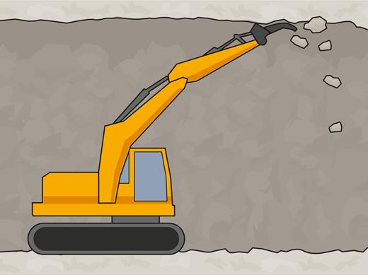 Erikoisajoneuvo irrottaa seinämistä irtoavat lohkareet eli rusnaa.