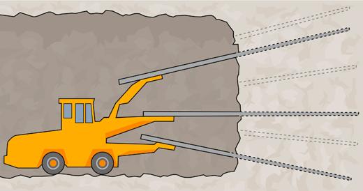 Jumbo vahvistaa kalliota porausta varten injektoimalla.