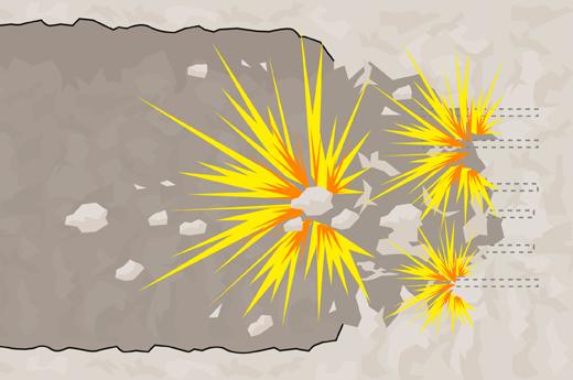 Reikiin asetetut räjäytysaineet räjähtävät.