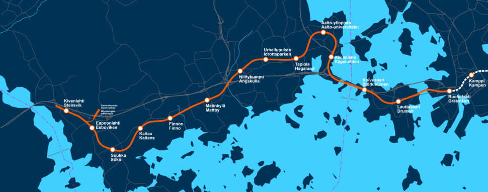 Länsimetron metrokartta. Asemat lännestä itään ovat Kivenlahti, Espoonlahti, Soukka, Kaitaa, Finnoo, Matinkylä, Niittykumpu, Urheilupuisto, Tapiola, Aalto-yliopisto, Keilaniemi, Koivusaari ja Lauttasaari.
