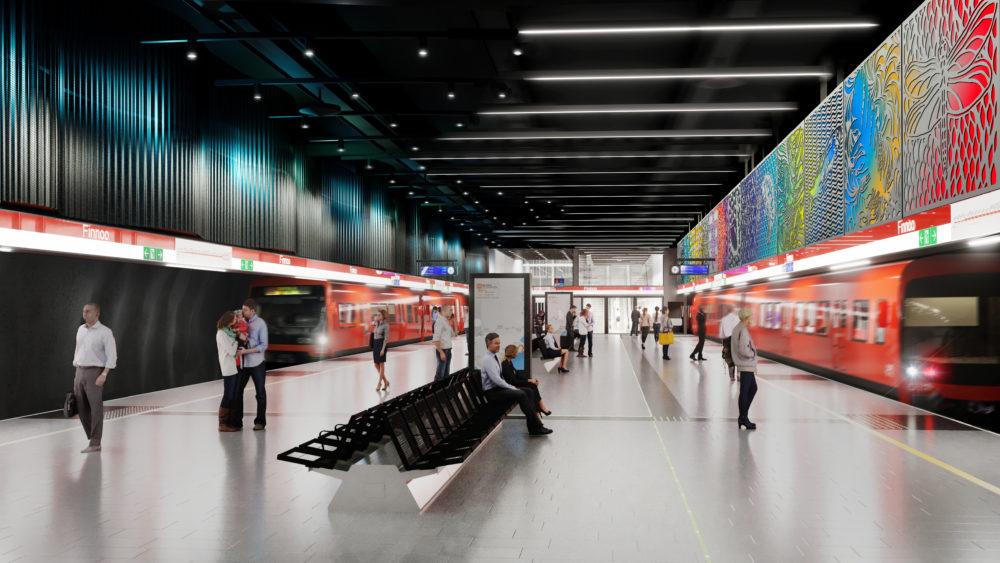 Alustava havainnekuva Finnoon metroaseman asemalaiturista.