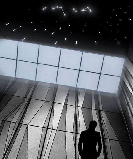 Havainnekuva Soukan metroaseman asemataiteesta. Katossa näkyy tähtiä ja tähdenlentoja.