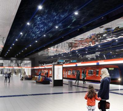Havainnekuva Espoonlahden metroaseman asemalaiturilta.