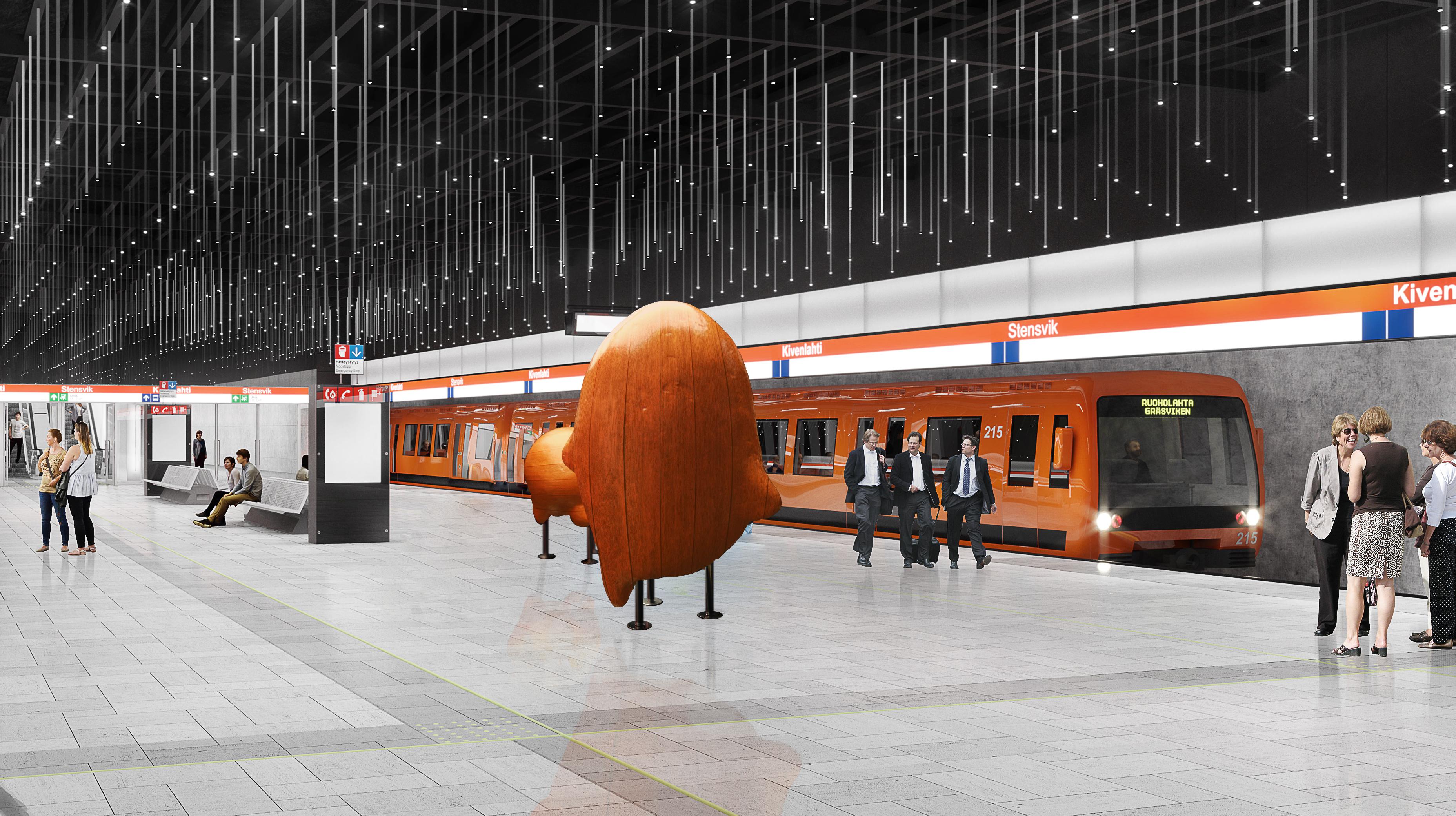 Kivenlahden metroaseman laiturialueen havainnekuva