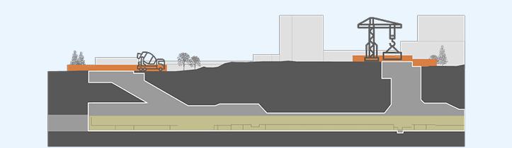 Kuva on poikkileikkaus metroasematyömaasta. Kuva kertoo, että aseman rakentaminen alkaa laituritasolta ja runkotyöt etenevät alhaalta ylöspäin kohti maanpintaa.