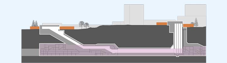 Kuva on poikkileikkaus metroasematyömaasta. Kuva kertoo, että aseman laiturialueella valmistuu laituriseinät ja kattorakenteet. Talotekniset työt alkavat.