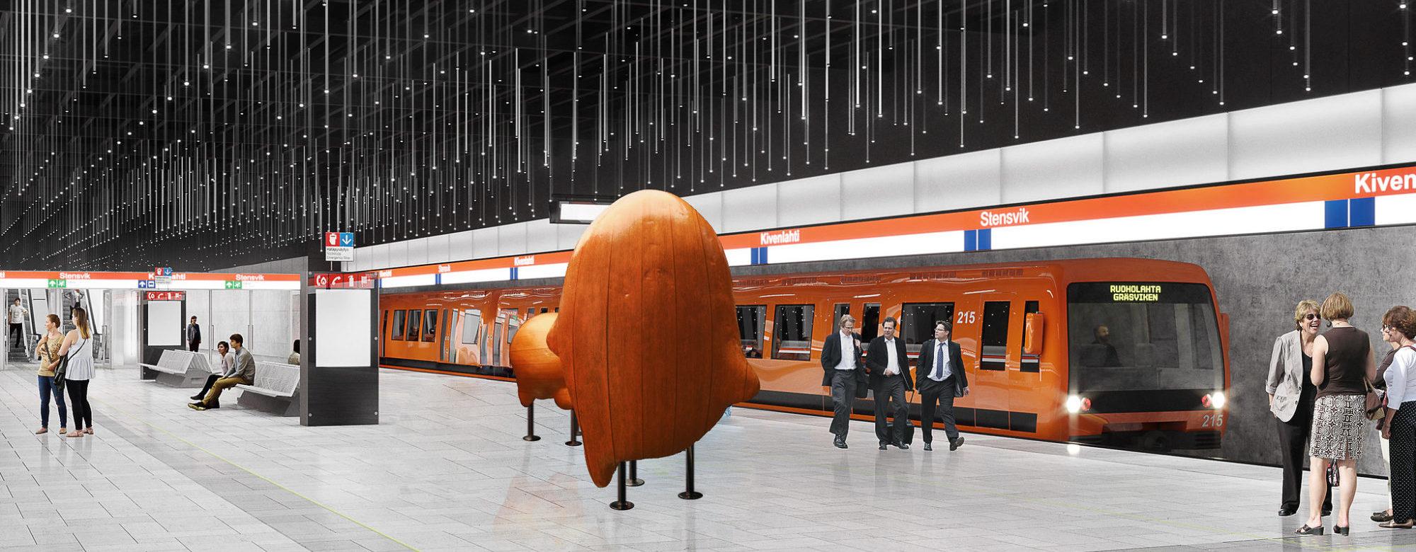 Havainnekuva Kivenlahden metroaseman asemalaiturilta.