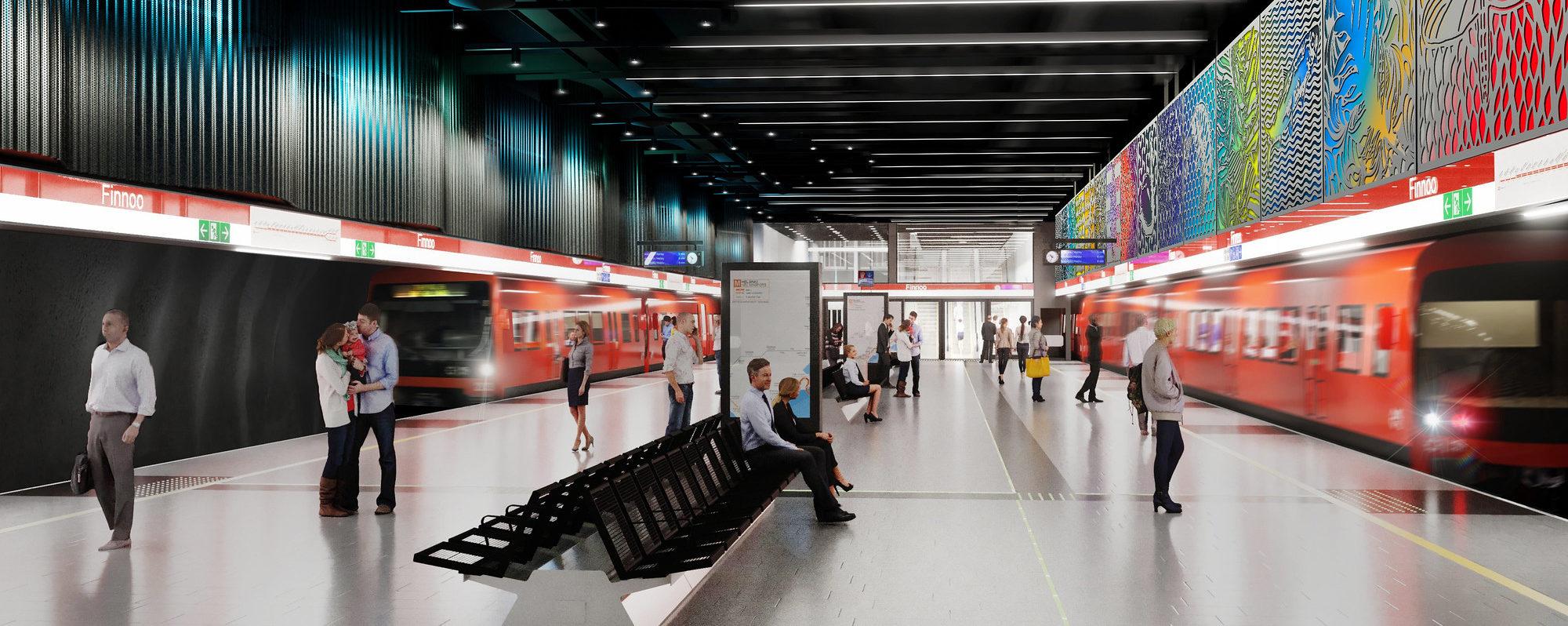 havainnekuva Finnoon metroaseman laiturialueesta.