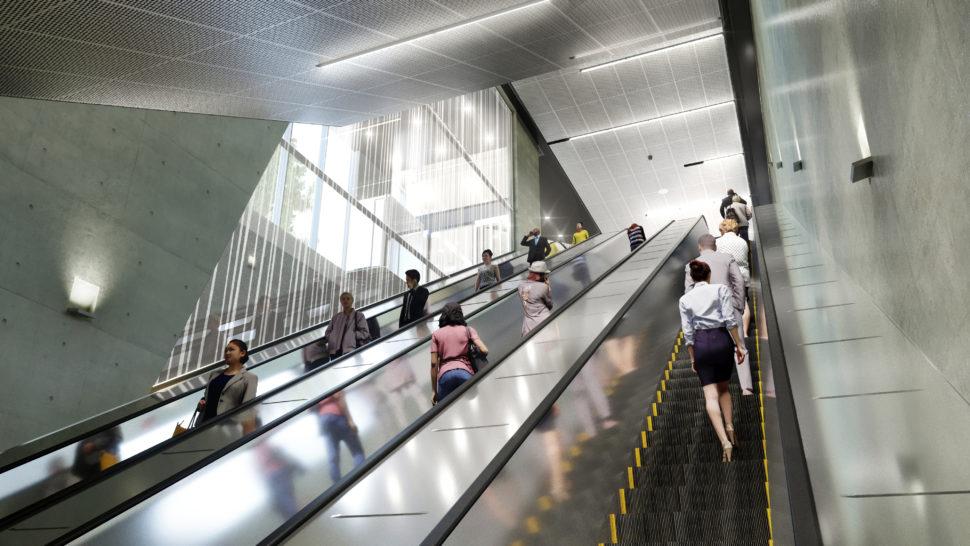 Havainnekuva Finnoon metroaseman Meritien sisäänkäynnin liukuportaista.