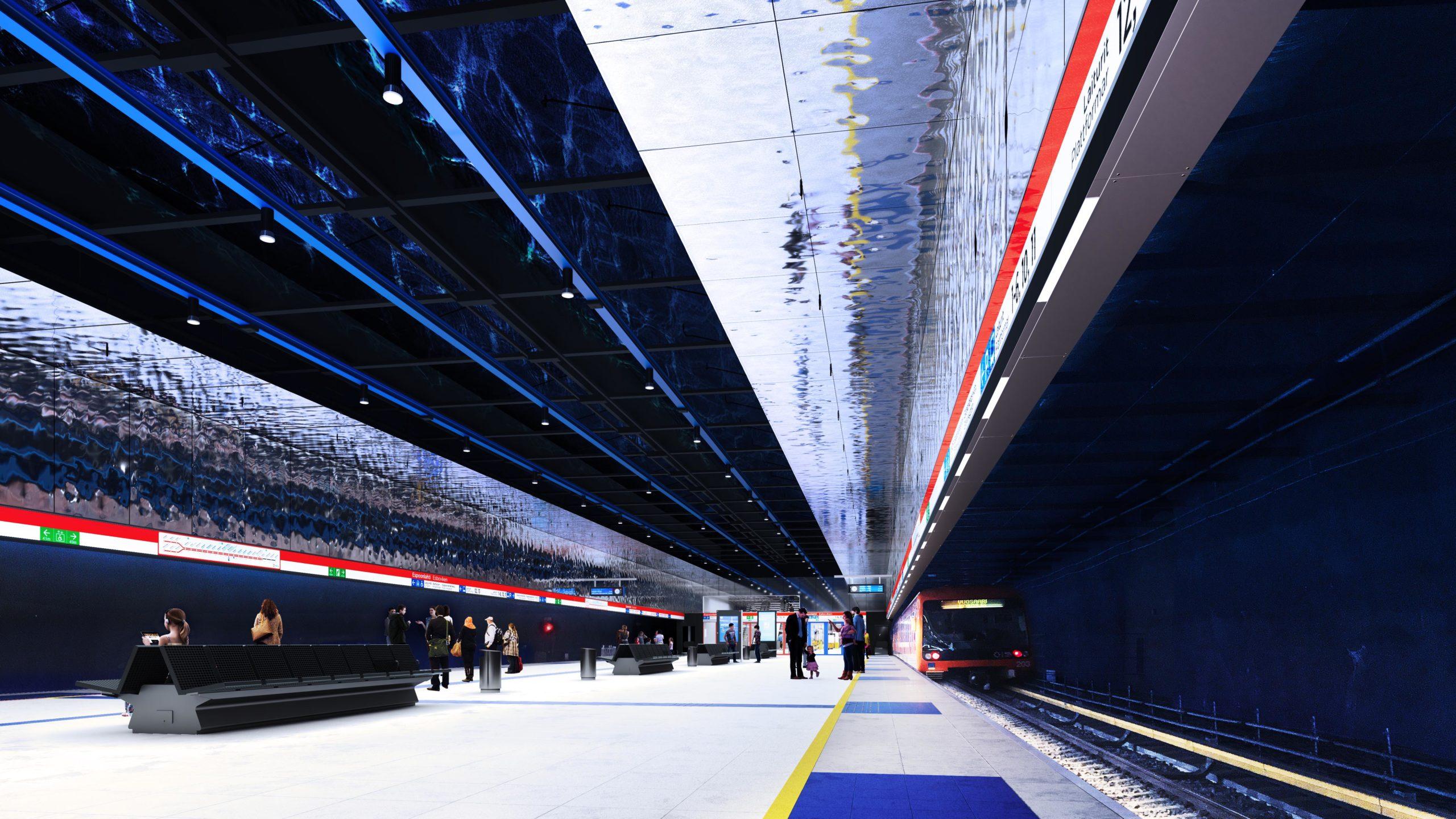 Kuvassa arkkitehdin piirtämä havainnekuva Espoonlahden metroaseman metrolaiturista. Katto on tumman sininen ja laituriseinien sivut kiiltevät.