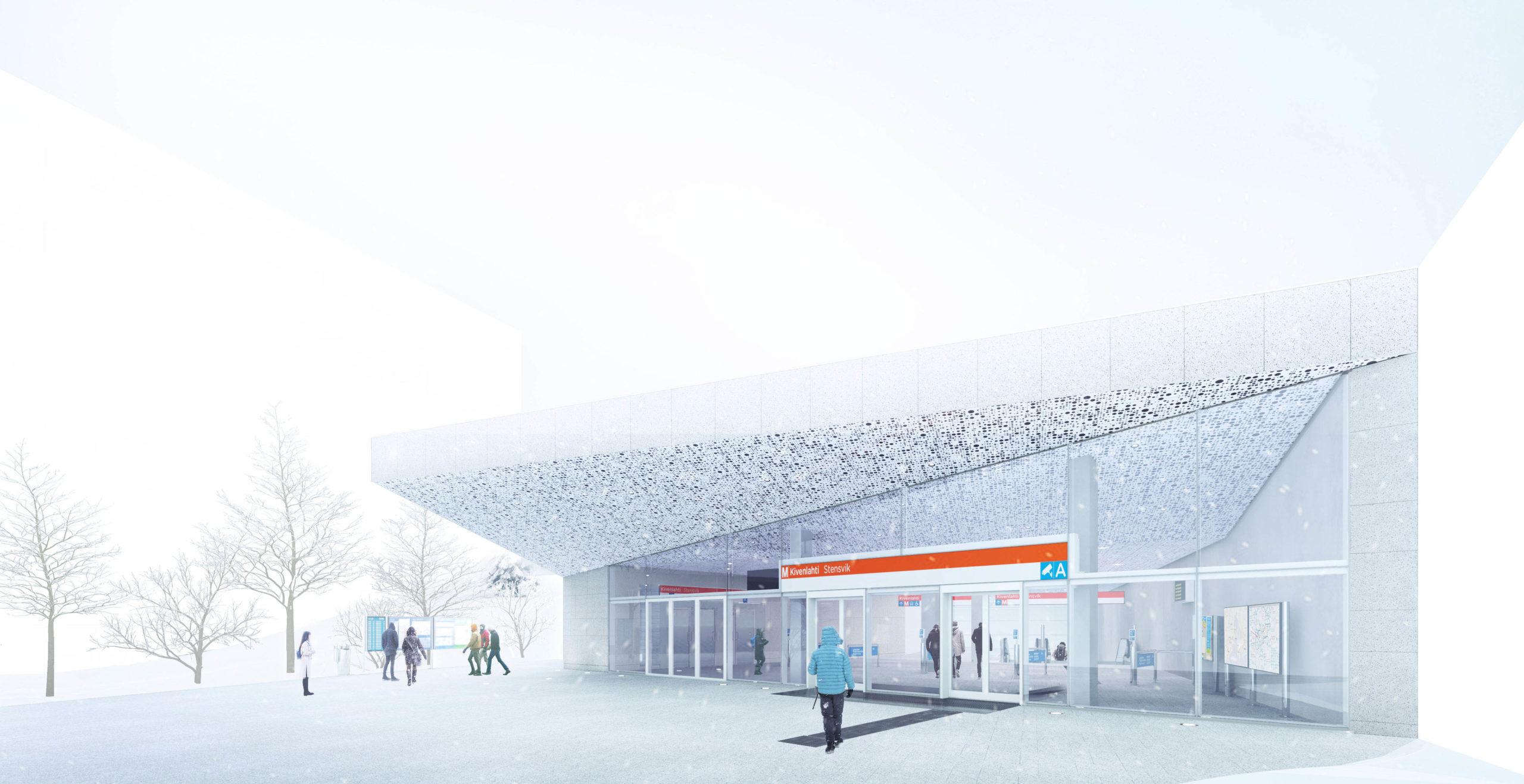 Kuvassa arkkitehdin havainnepiirros Kivenlahden metroaseman julkisivusta. Julksivu on valkoinen. Oven kohdalla on kolmion muotoinen katosrakennelma.