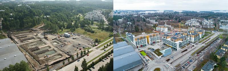 Vasemmalla on ilmakuva Urheilupuiston alueesta vuodelta 2011, oikealla vuodelta 2020. Alueelle on noussut tässä ajassa runsaasti uusia rakennuksia kuten kerrostaloja metroaseman ympäristöön.