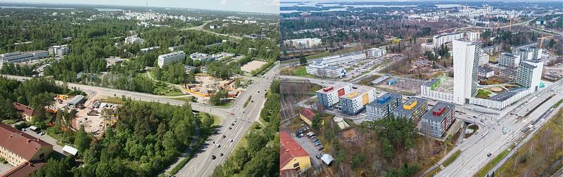 Vasemmalla on ilmakuva Niittykummusta vuodelta 2012, oikealla vuodelta 2020. Alueelle on noussut tässä ajassa runsaasti uusia rakennuksia. Espoon korkein asuintalo oikeanpuoleisessa kuvassa.