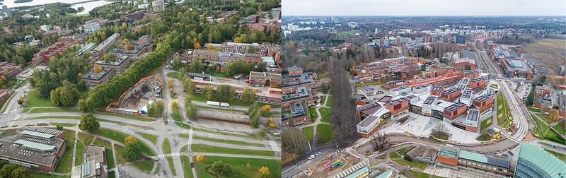 Vasemmalla on ilmakuva Aalto-yliopiston metroaseman ympäristöstä vuodelta 2012, oikealla vuodelta 2020. Alueelle on noussut kahdeksan vuoden aikana uusia rakennuksia ja yliopiston kampusalue on kasvanut.