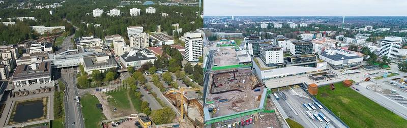 Vasemmalla on ilmakuva Tapiolan alueesta vuodelta 2012, oikealla vuodelta 2020. Alueelle on noussut kahdeksan vuoden aikana uusia rakennuksia kuten kauppakeskus Ainoa, bussiterminaali ja asuinrakennuksia. Oikeanpuolisessa kuvassa näkyy myös työmaa.