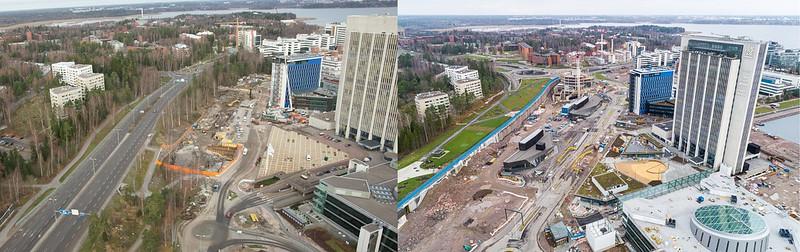 Vasemmalla on ilmakuva Keilaniemen alueesta vuodelta 2011, oikealla vuodelta 2020. Alueelle on noussut uusia rakennuksia ja liikennejärjestelyt ovat muuttuneet. Vuoden 2020 kuvassa näkyy työmaa-alueita.