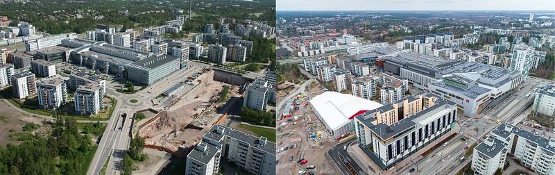 Vasemmalla on ilmakuva Matinkylästä vuodelta 2012, oikealla vuodelta 2020. Alueelle on noussut tässä ajassa runsaasti uusia rakennuksia ja vuoden 2020 kuvassa näkyy rakennustyömaita.