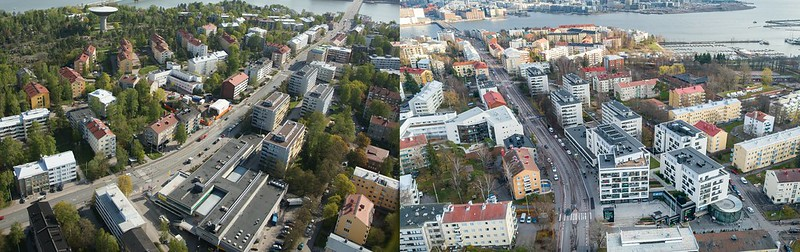 Ilmakuvissa on Lauttasaaren metroaseman ympäristö vasemmalla vuonna 2011 ja oikealla vuonna 2012. Oikeanpuoleiseen kuvaan on rakennettu kauppakeskus ja asuintaloja.