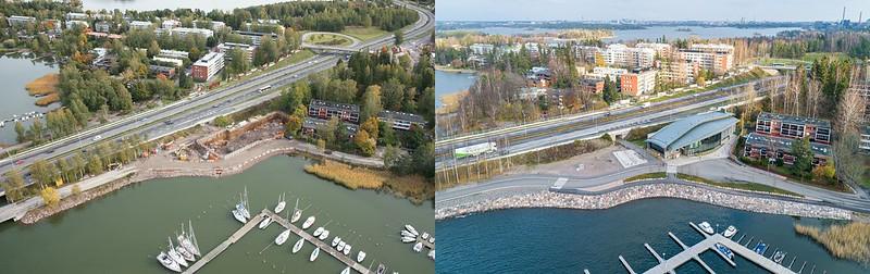 Ilmakuvat Koivusaaren metroaseman ympäristöstä: vasemmalla vuonna 2012 ja oikealla vuonna 2012. Oikeanpuoleiseen kuvaan Länsiväylän ja meren väliin on noussut Koivusaaren metroaseman sisäänkäyntirakennus.