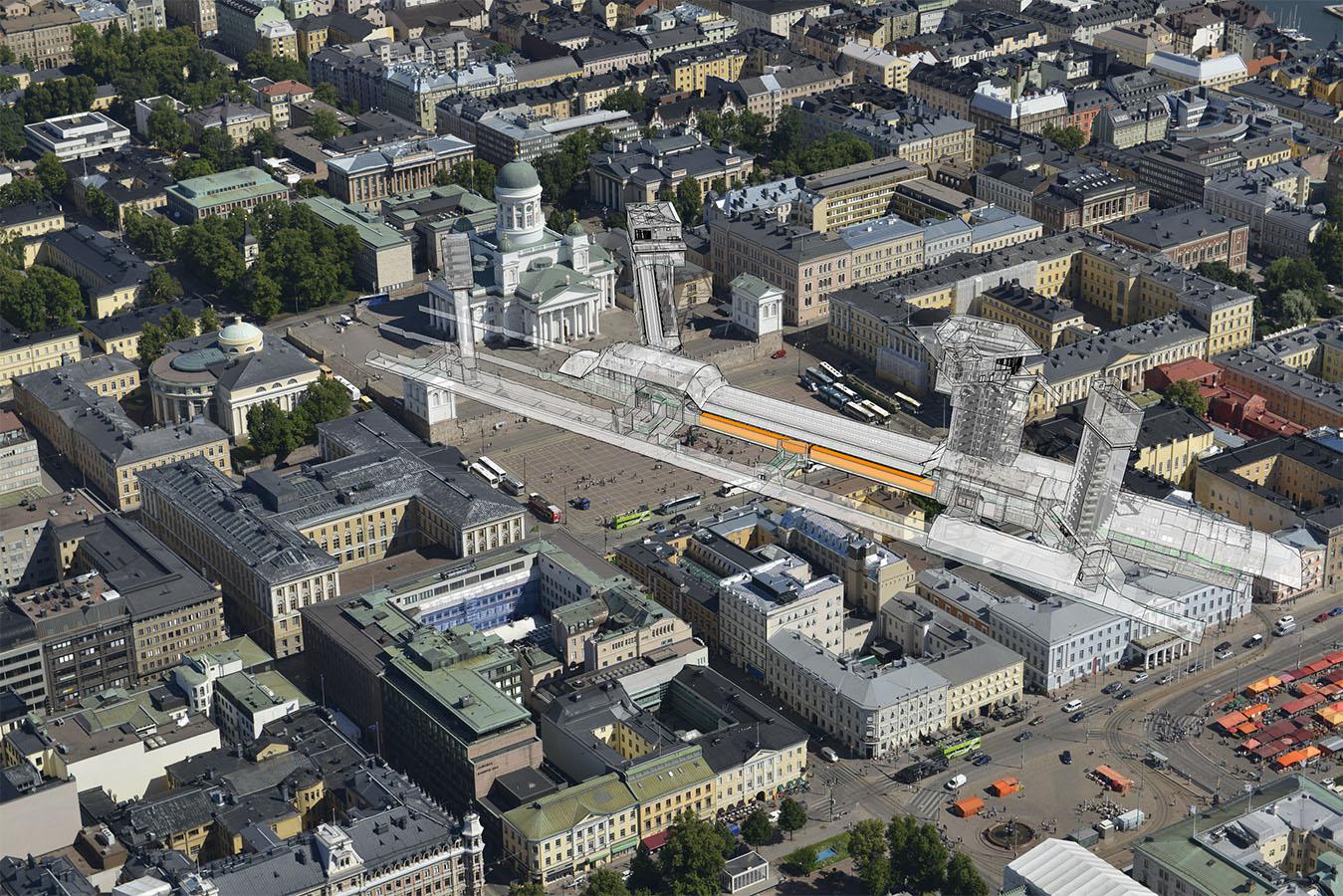 Moderni metrojärjestelmä vaatii paljon tilaa. Soukan metroaseman tilat ulottuisivat Helsingin Kauppatorilta Tuomiokirkon taakse, jos aseman toisi Helsingin keskustaan. Kuilut nousisivat Tuomiokirkon kupolin tasolle.