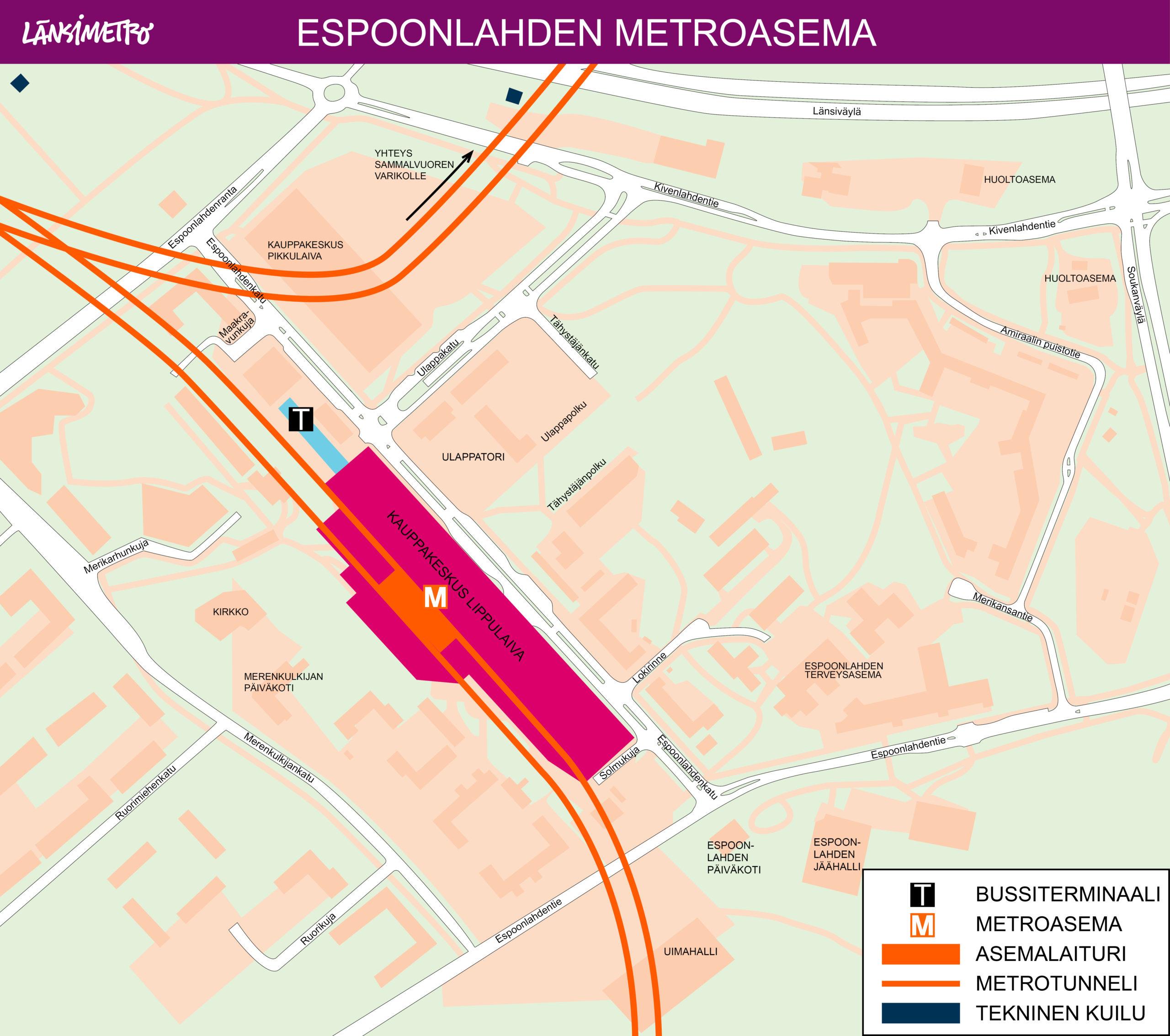 Espoonlahden metroasema on kauppakeskus Lippulaivan yhteydessä Espoonlahdenkadun varrella. Kauppakeskuksen yhteydessä on myös bussiterminaali. Sisäänkäynnit metroasemalle on Lippulaivan sisällä. Lisäksi asemalla on teknisiä kuilurakennuksia
