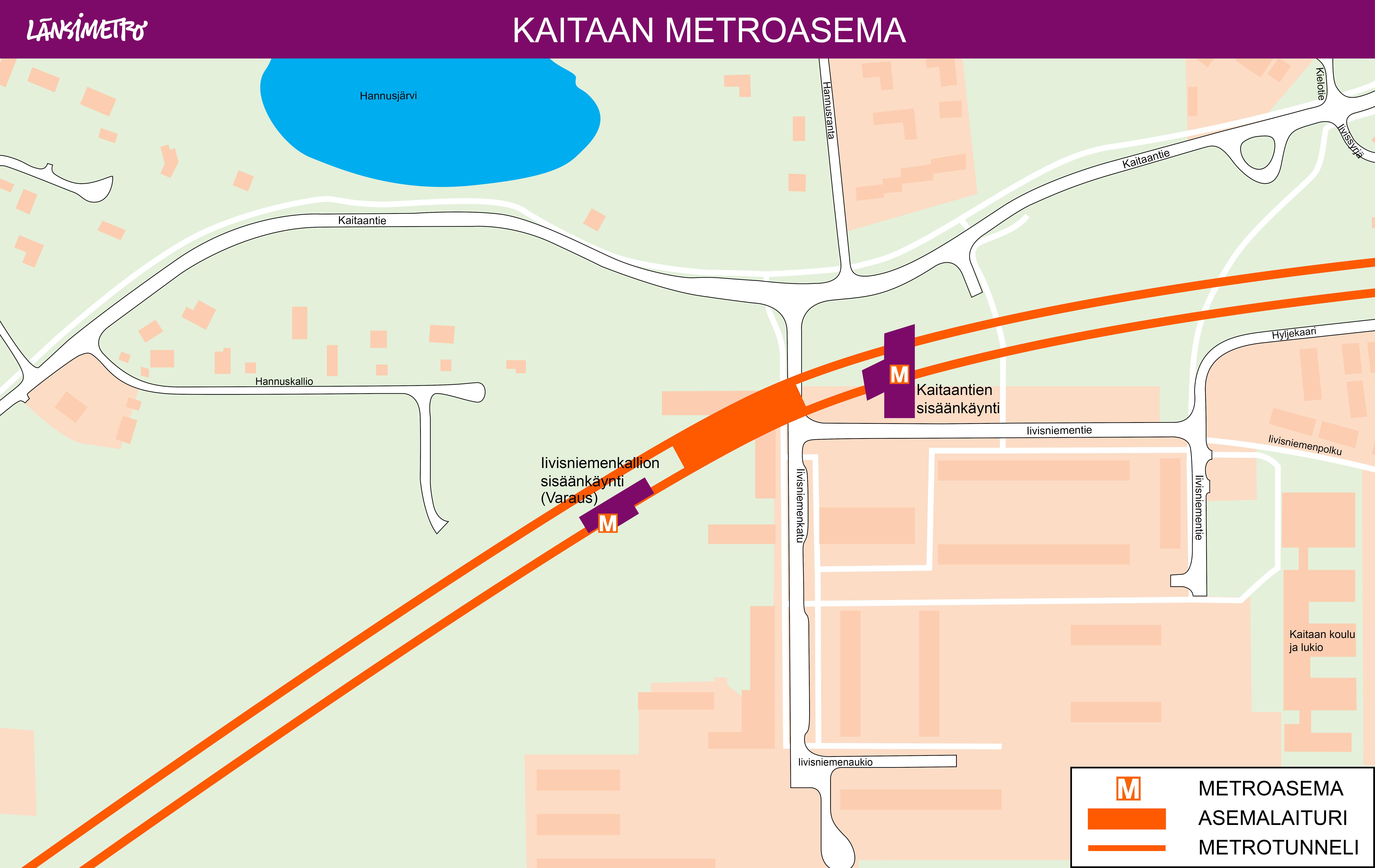 Kaitaan metroaseman sisäänkäynti on Kaitaantien sisäänkäynti, joka sijaitsee Kaitaantien, Iivisniemenkadun ja Iivisniemen välisellä alueella. Metroasemalle on myös varauksena Iivisniemenkallion sisäänkäynti. Iivisniemenkallion sisäänkäyntivaraus on asemalaiturin länsipuolella, Hannuskallio-tiellä.