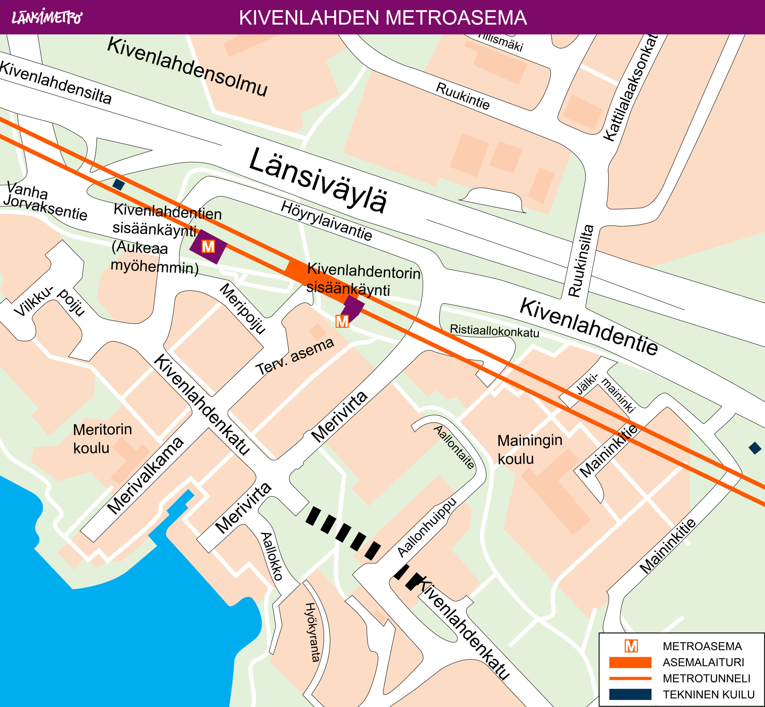 The Kivenlahti metro station has two entrances: the Kivenlahdentori entrance and the Kivenlahdentie entrance. The Kivenlahdentori entrance is located on the east side of the platform. The Kivenlahdentie entrance is located on the west side of the platform. When the metro service starts between Matinkylä and Kivenlahti in 2023, the Kivenlahdentie entrance will not be open to passengers due to other construction ongoing in the area. This entrance will be opened once construction in the area around the entrance is completed. In addition, the station features technical shafts.